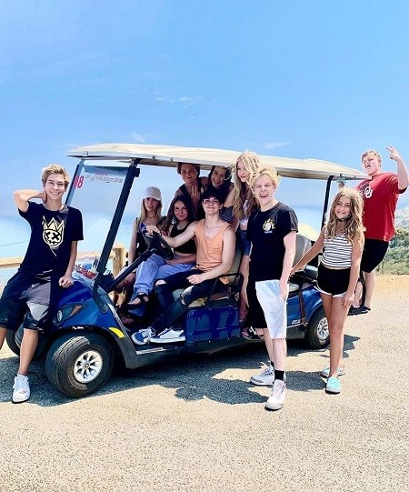 Piper Rockelle, Lev Cameron, Jentzen Ramirez and the whole squad, except Sophie Fergi, on a cart during a trip on Piper's girlfriend.