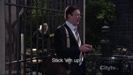 Was Marshall genuinely mugged by a monkey on HIMYM