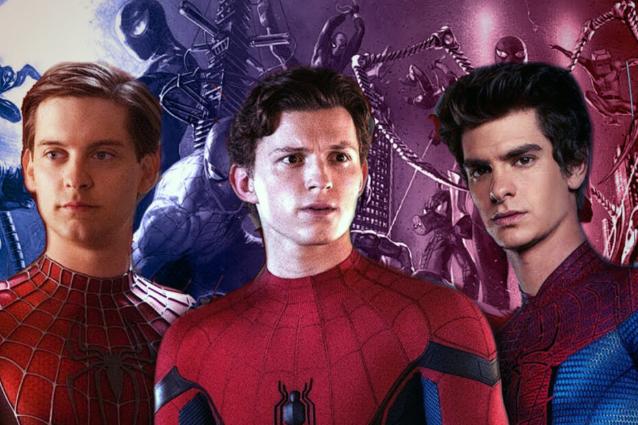 Three Spider-Man actors; Tom Holland, Tobey Maguire, and Andrew Garfield.