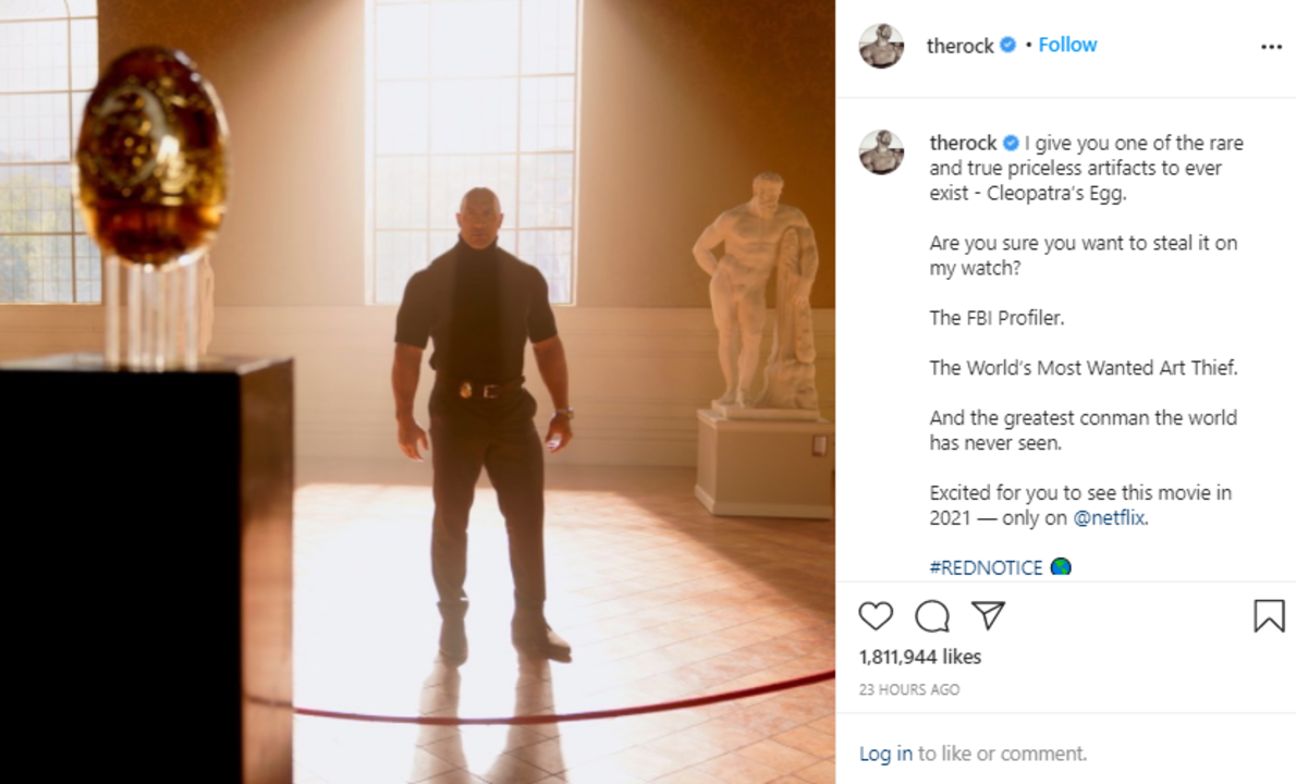 Dwayne Johnson's new upload on Instagram from his upcoming Netflix movie with Ryan Reynolds and Gal Gadot.