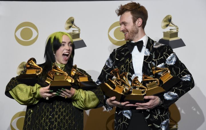 Billie Eilish & Finneas receiving Grammy