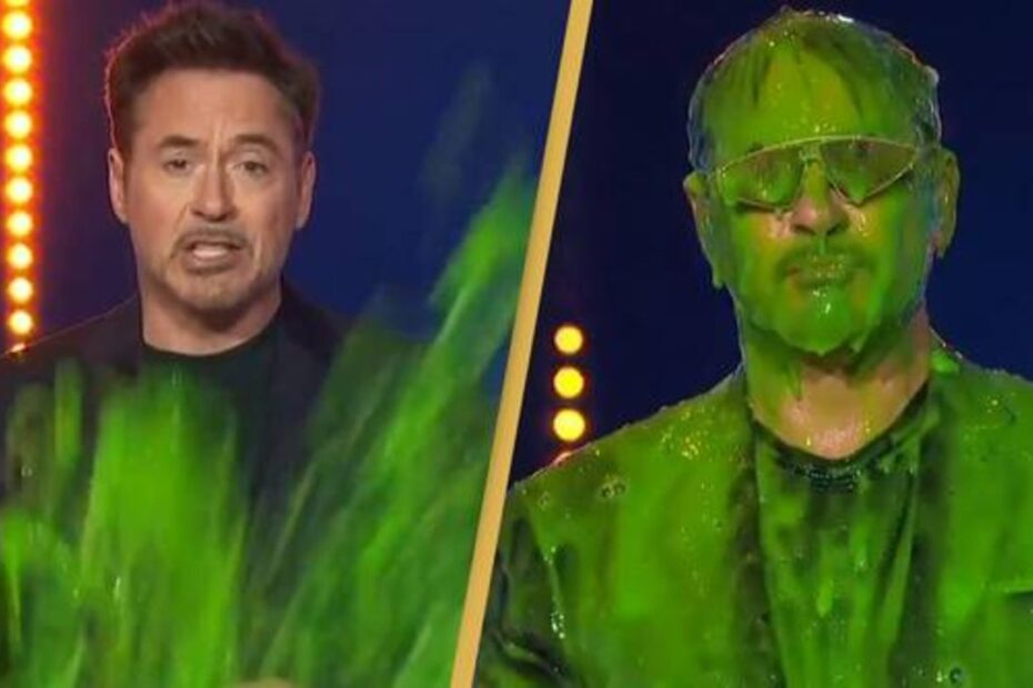 Robert Downey Jr. Slimed While Receiving Favorite Actor in Nickelodeon Kids Choice